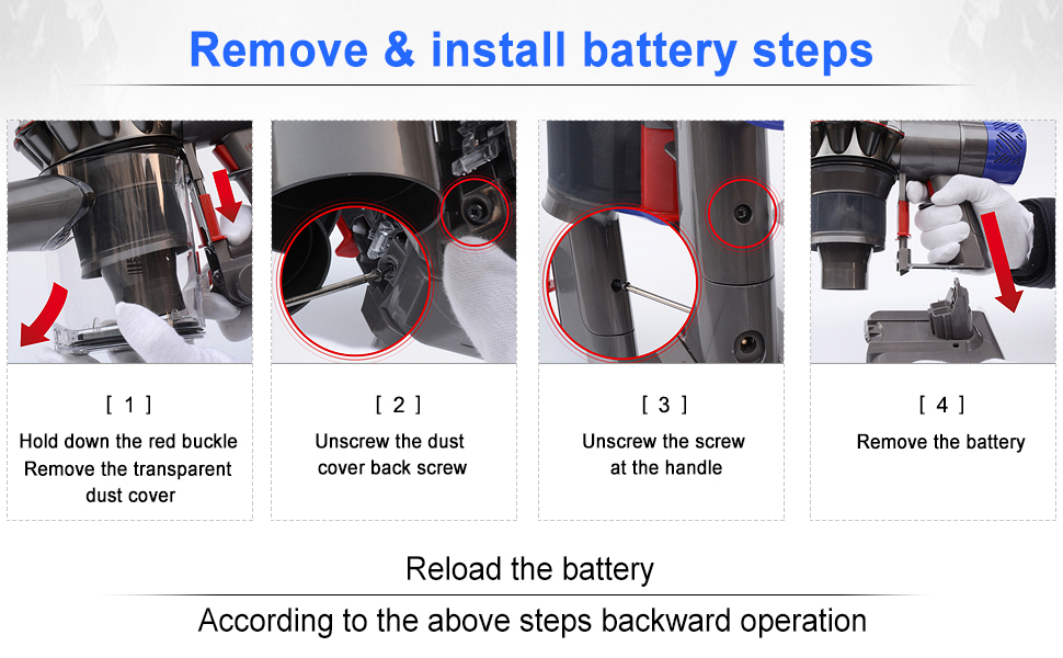 Remove&install battery steps