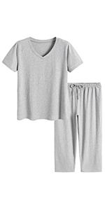 women soft comfy short sleeves top capri pants pajamas set loungewear