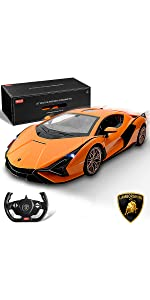 BEZGAR Officially Licensed RC Series 1:24 Scale Remote Control Car Lamborghini Aventador SVJ Electric Sport Racing Hobby Toy Car Model Vehicle for Boys Kids Teens and Toddler Xmas Gifts