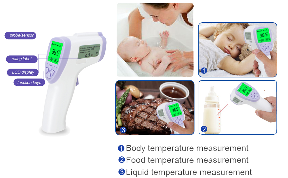 Purple Vinmax Digital Non-Contact Pet Thermometer Hygrometer Infra-red Veterinary Thermometers Temperature-Meter for Dogs Cats Horses