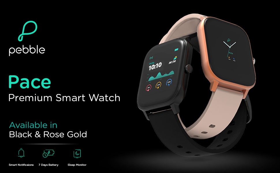 Pebble Pace, Smart Watch, Fitness Band, Smart wearable, Full touch watch, Oximeter, Fitness, health