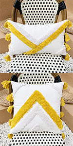 yellow pillow cover boho tassel pillow cover tassels cotton woven