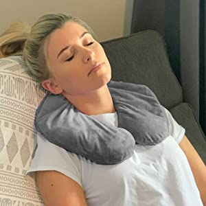 huggaroo unscented neck wrap microwavable heat pad with washable cover