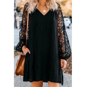 Lantern Long Sleeve Round Neck High Low Asymmetrical Irregular Hem Casual Tops Blouse Shirt Dress