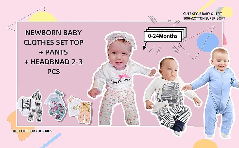 Conjuntos para Niñas y Coordina Ropa para Bebés Recién Nacidos Dos Piezas Top + Pantalones Trajes Conjunto Ropa para la Primera Infancia