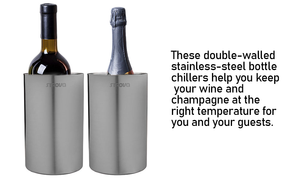 Keeps Wine Cold for Hours Double Walled Champagne Bottle Insulator Winehub Wine Bottle Chiller Set with 2 12oz Insulated Wine Tumblers Stainless Steel Fits Most Bottles