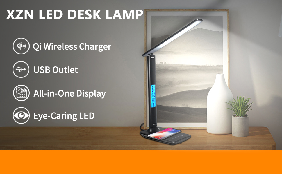 LED desk lamp with wireless charging