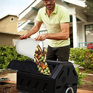 Compost bin dumped into outdoor composter