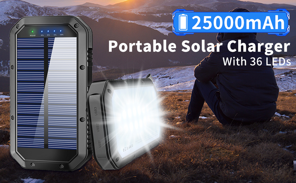 25000 solar panel battery pack solar cell battery amazon solar charger solar chargers waterproof