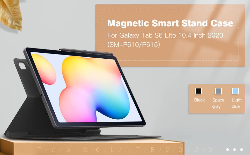 TiMOVO H/ülle Kompatibel mit All-New Samsung Galaxy Tab S6 Lite 10.4 Inch 2020 SM-P610//P615 Schwarz TPU Schutzh/ülle Transluzenter R/ückendeckel Faltbar Magnetisch H/ülle mit Auto Schlaf//Aufwach