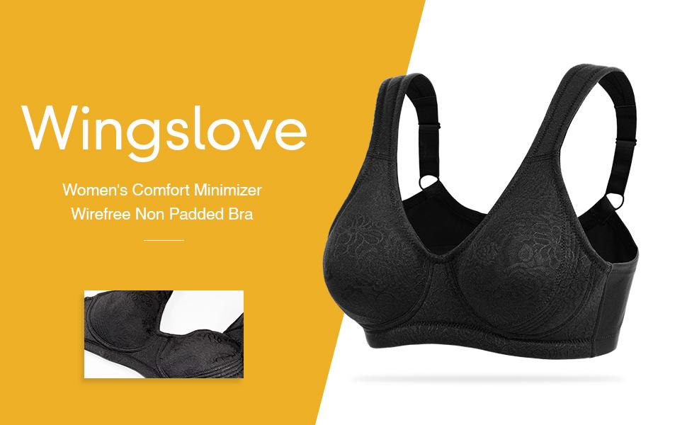 WingsLove Women/'s Minimizer Bra Full Coverage Non Padded Comfort Wirefree Bra