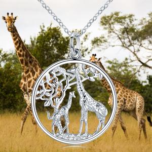 Giraffe necklace African necklace for herhim silver giraffe charm pendant and chain giraffe jewelry giraffe gift for her