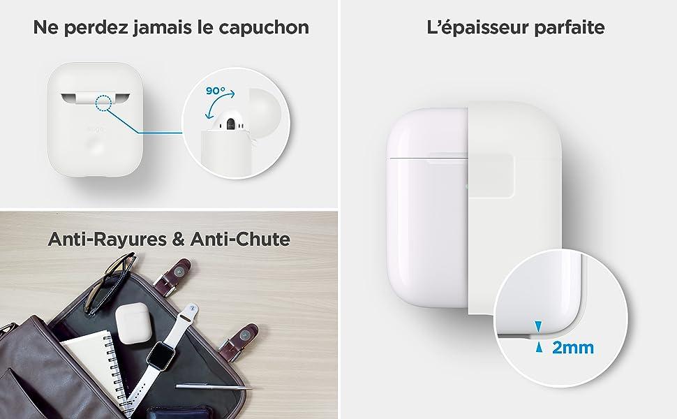 JIJI886 Housses protectrices Coque Compatible avec Apple AirPods, A Prot/ègent l/étui de vos AirPods contre les rayures et les chocs En silicone