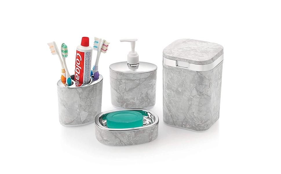 Soap Case, Toothbrush Holder and Soap Dispenser Bathroom set