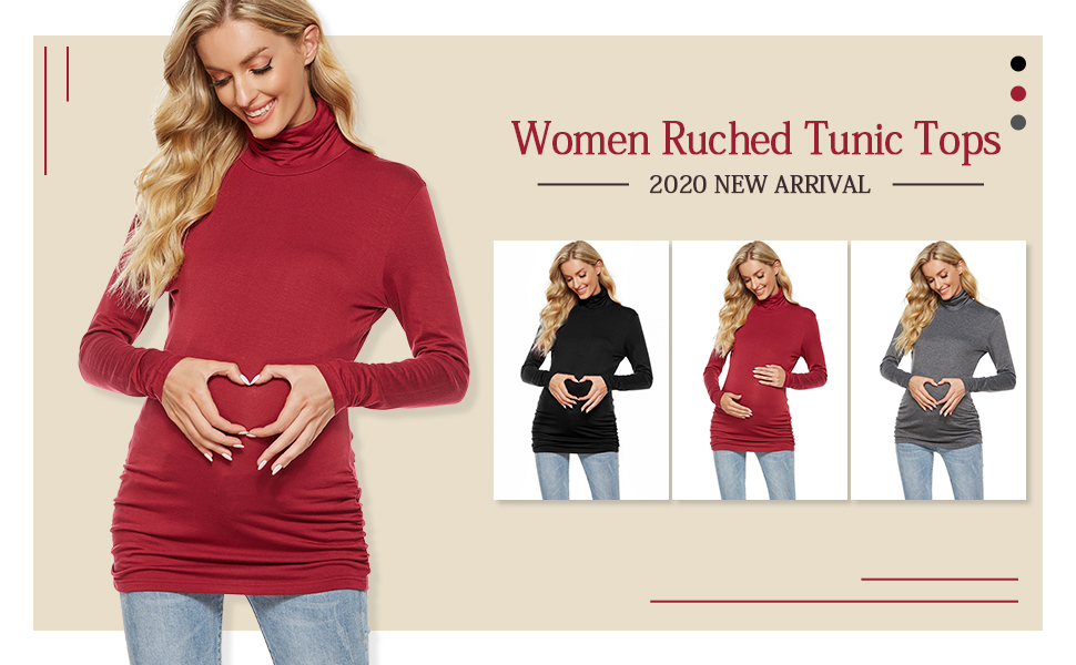 Long Sleeve Maternity T-shirt Turtle Neck Ruched Tunic Tops