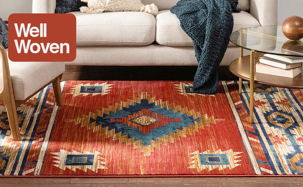 Well woven area rug stain resistant high traffic kid child pet safe red tribal medallion traditional