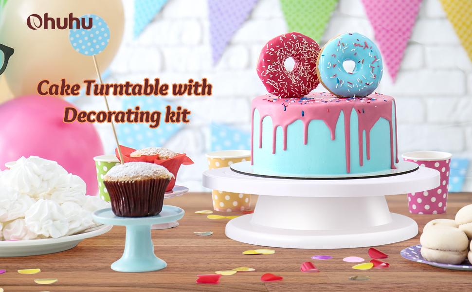 360 grados Soporte giratorio para decoraci/ón de tartas color rosa YUIO Housewares