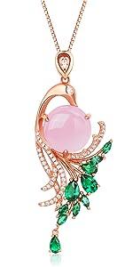 Natural rose-quartz pendant necklace