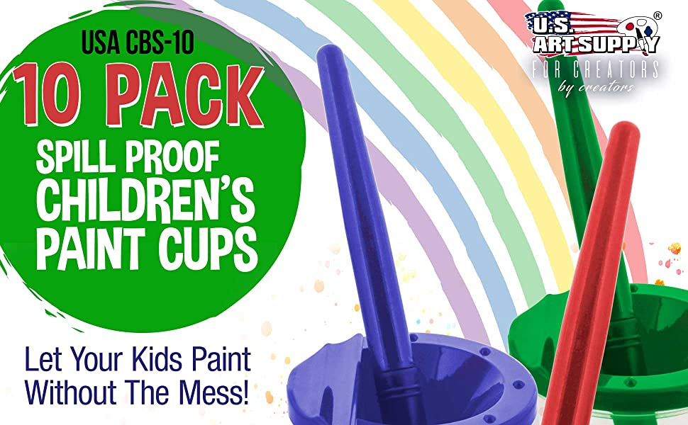 U.S. Art Supply 10 Pack Spill Proof Childresn Paint CUps