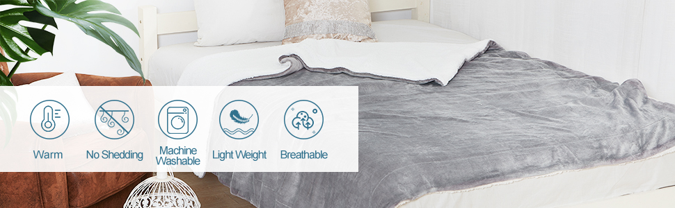 SOCHOW Sherpa Fleece Throw Blanket Double-Sided Super Soft Luxurious Plush Blanket 50/×60 Grey Double-Sided Super Soft Luxurious Plush Blanket 50/×60 BYA7001001
