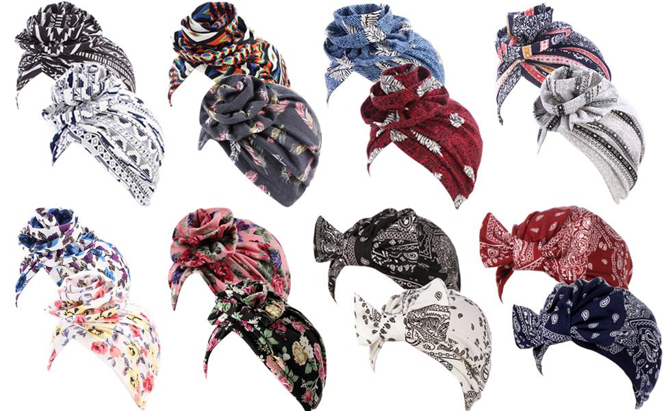 13peas Turbane Bowknot Stretch Turbane Chemo Schlaf Indische Stil Hut Kopfband f/ür Damen Kirche Beten Herbst Ethnischer Stil Afrikanischen Stil