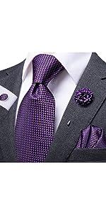 black and purple tie set