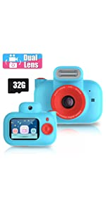 Kinder Digitalkamera, Dual Lens Selfie, 2,0 Zoll 32 GB Wiederaufladbare Kamera