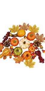 Thanksgiving Harvest Mini Artificial Pumpkins, Set of 57