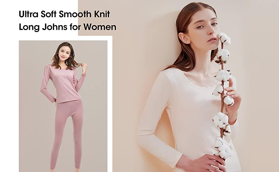 SANQIANG Womens Cotton Lace Crew Neck Thermal Underwear Set Lightweight Long Johns for Women