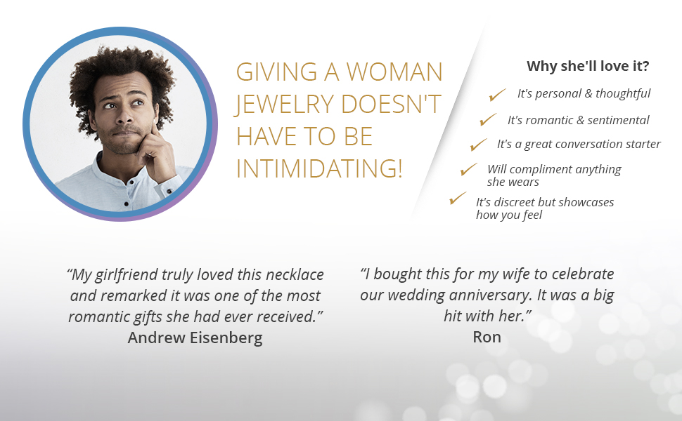 Why men should gift women jewelry and why she'll love this necklace including happy customer