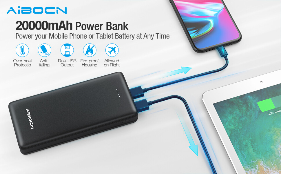 Aibocn Mini Portable Charger Power Bank 20000mAh
