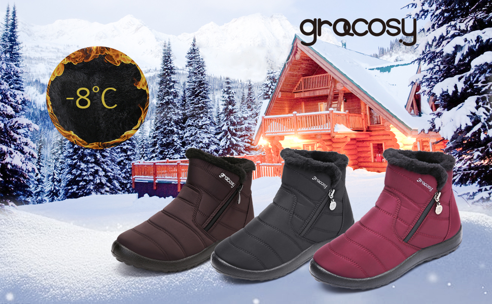 gracosy Warm Snow Boots Outdoor