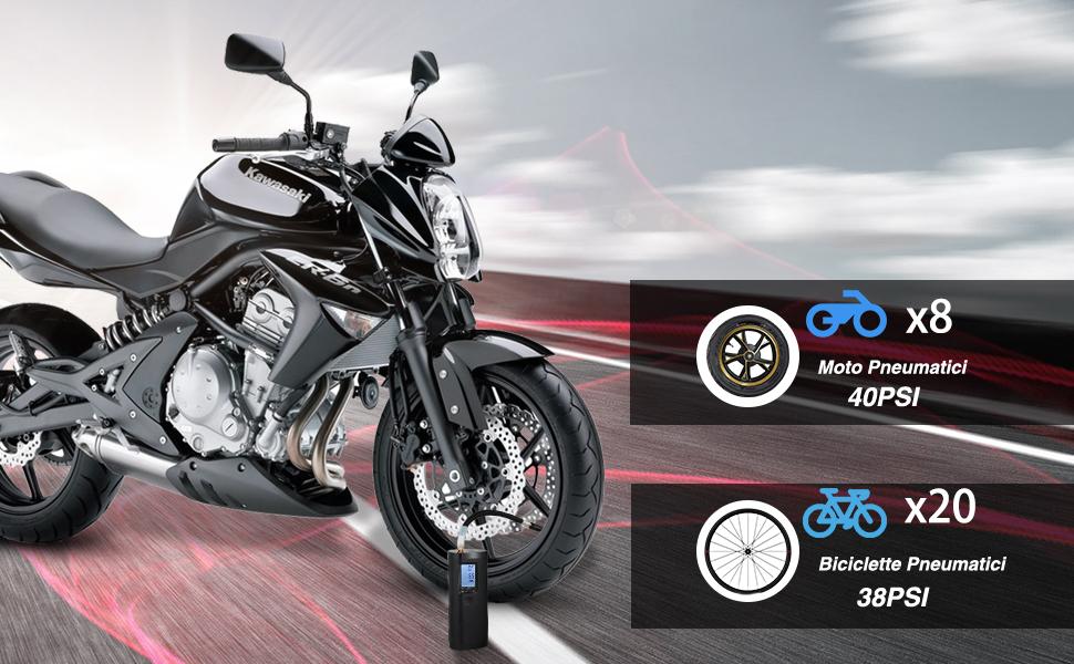 Vastar Compressore Portatile Bicicletta e Palla Banca di Potere Mini Compressore per Moto Auto Compressore Aria con LCD Display