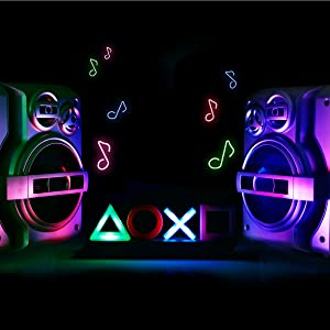 Playstation Icons light next to large speakers  Paladone Playstation Icons Light with 3 Light Modes – Music Reactive Game Room Lighting 76fe54d4 bcb1 4eb3 8016 6500a9f7d9fb