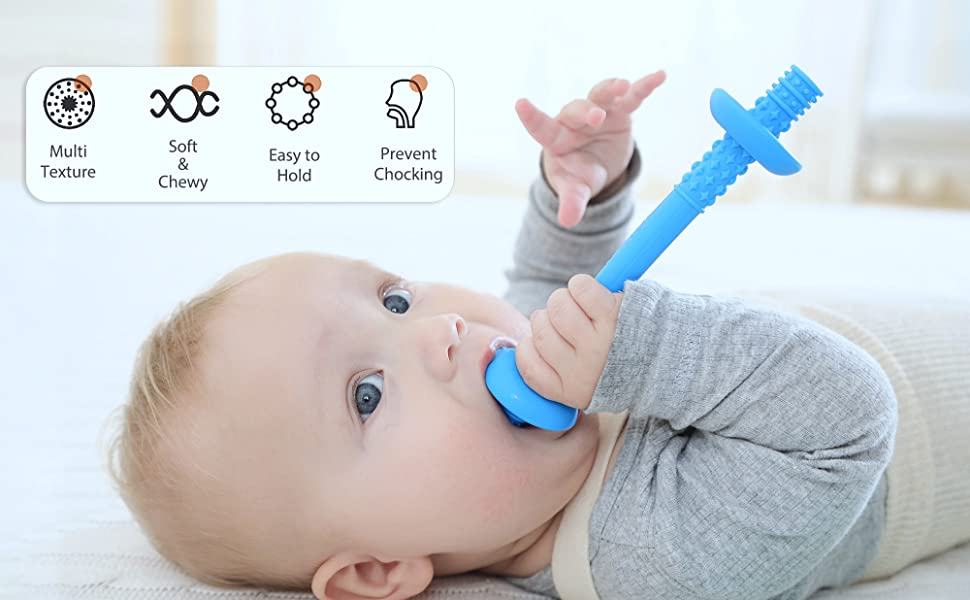 Baby teething tube with safety shield by Giftty, BPA-free, safe for baby