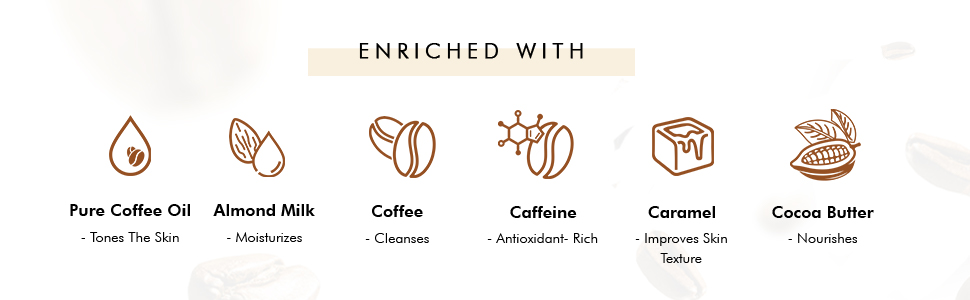 enriched with pure coffee oil almond milk coffee caffeine caramel cocoa butter antioxidant rich