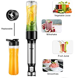 Hand Blender Kealive Smart 12-Speed Immersion Blender with 20oz Tritan Portable Blender Bottle (BPA Free), One Button Operation Stick Mixer, Safety ...