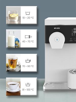 Temperatuurinstellingen warm warm en koel getemperd babywater thee koffie waterkoker bereiden.