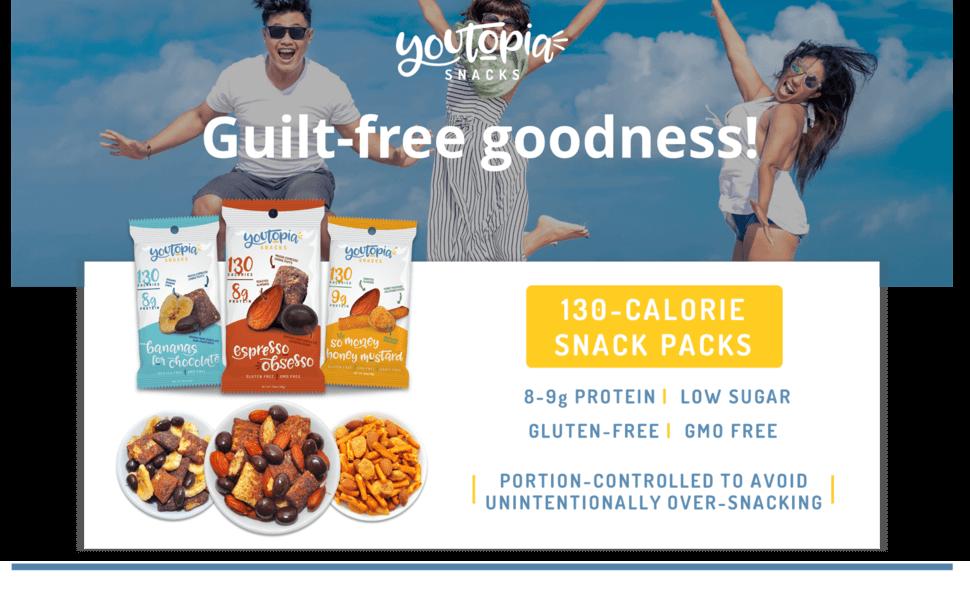 Youtopia Snacks 130-calorie protein snack packs, gluten free and non GMO