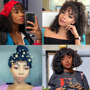 curly lace front wigs human hair bangs wigs deep curly wave human hair lace front wigs with bangs