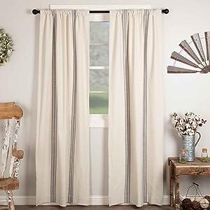 Market Place Gray Grain Sack Panel Curtain