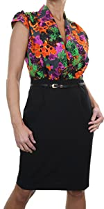 Women's Formal Floral Print Belted Bodycon Dress