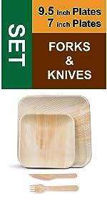 """9.5"""" 7"""" Plates Forks Knives"""