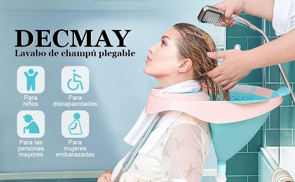 DECMAY Lavabo de Pelo, Lavabo de champú móvil Plegable portátil de plástico con Tapa y Manguera de Agua para Embarazadas, discapacitados, Ancianos, ...