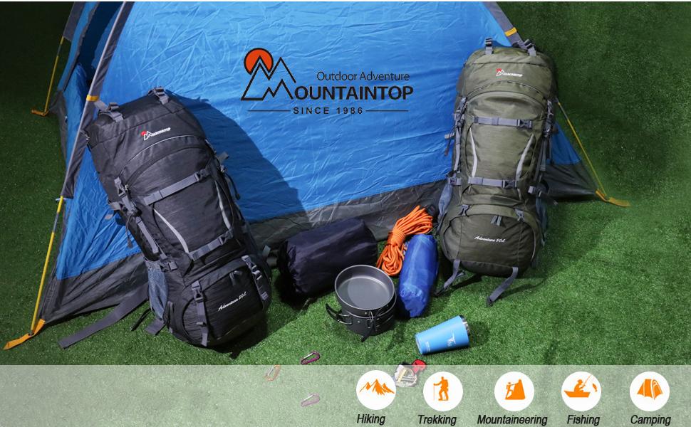 MOUNTAINTOP 50/70L Mochila de Senderismo Impermeable, Mochilas de Trekking Unisex Multifunción para Acampadas Excursiones Viajes