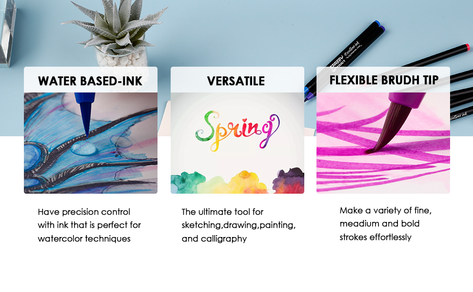 for Beginner Painters for Watercolor Painting with Nylon Brush Tips Ink Made in Japan SPREEY Brush Pens 24 Colors