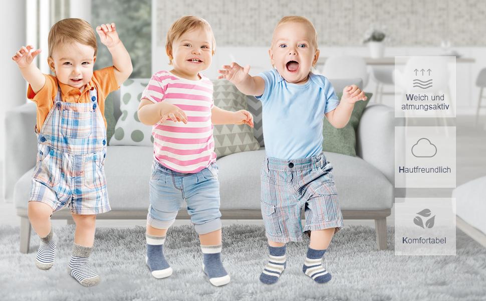 Yoofoss Baby Socken 6er Babysocken S/äugling Neugeborenes Kn/öchelsocken Anti Rutsch Kindersocken f/ür 0-12 12-36 Monaten Kinder Kleinkinder Baby Jungen M/ädchen