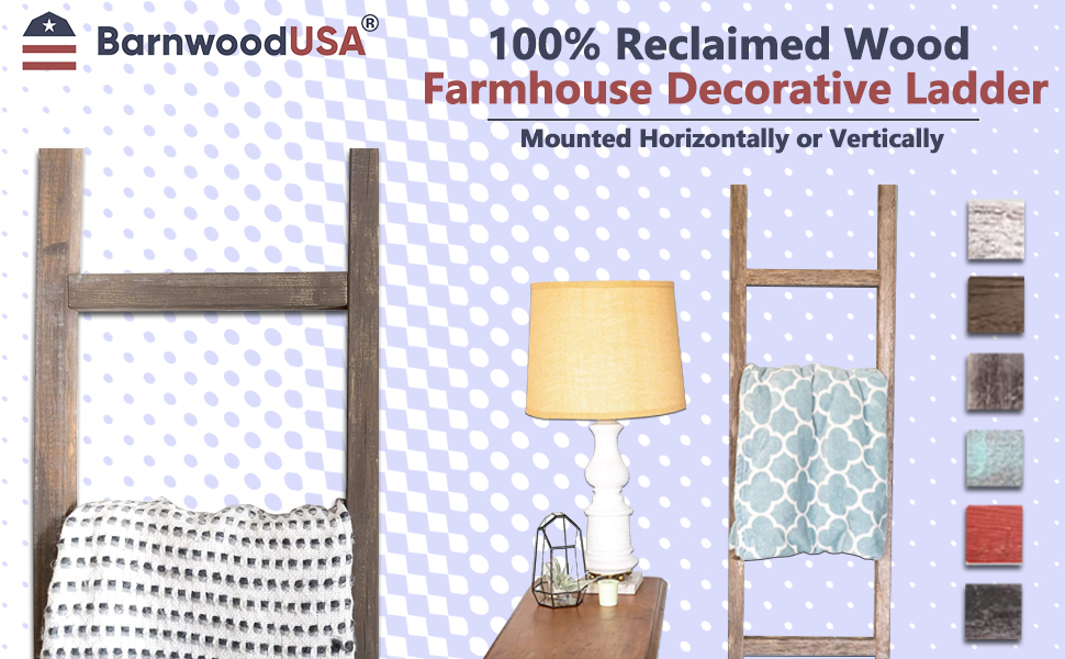 BarnwoodUSA Rustic Farmhouse Decorative Ladder is Crafted from 100% Recycled and Reclaimed Wood