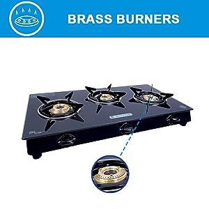 gas stove with brass burner, 3 burner gas, 3 burner gas stove, mild steel gas stove, gas burner