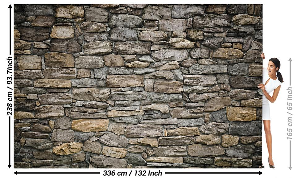 GREAT ART Foto Mural Pared de Piedra Gris - Efecto 3D grey stonewall Tapíz Deco imagen de piedras grises (336x238cm)